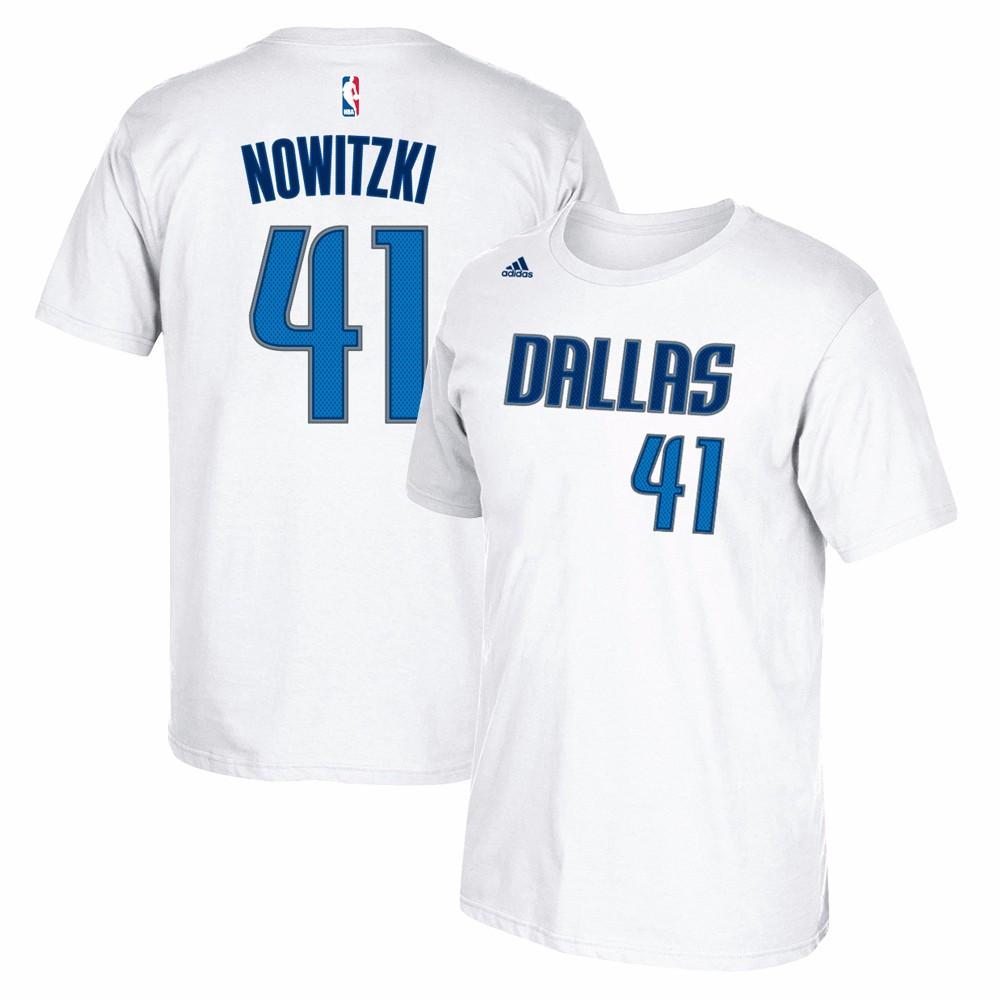 Dirk Nowitzki Dallas Mavericks NBA Adidas White Name & Number Player Jersey Team Color T-Shirt For Men (2XL)