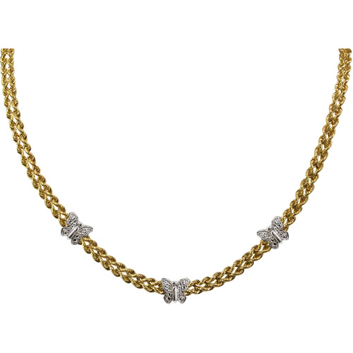 """2-Row Diamond-Cut Sterling Silver Butterflies and 10kt Gold Necklace, 17"""""""