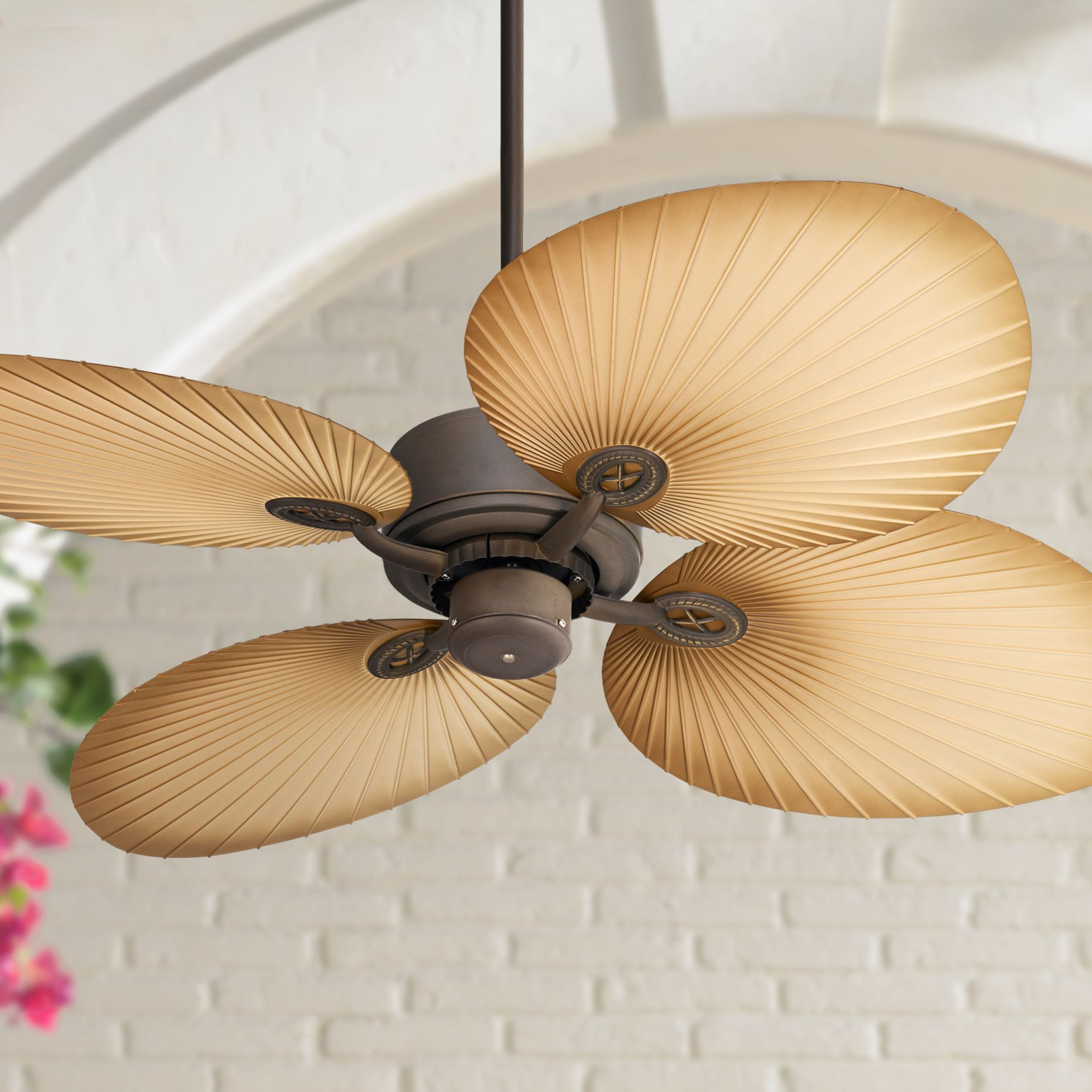 """52"""" Casa Vieja Tropical Cottage Outdoor Ceiling Fan Oil Rubbed Bronze Wide Palm Blades Wet Rated for Patio Porch"""