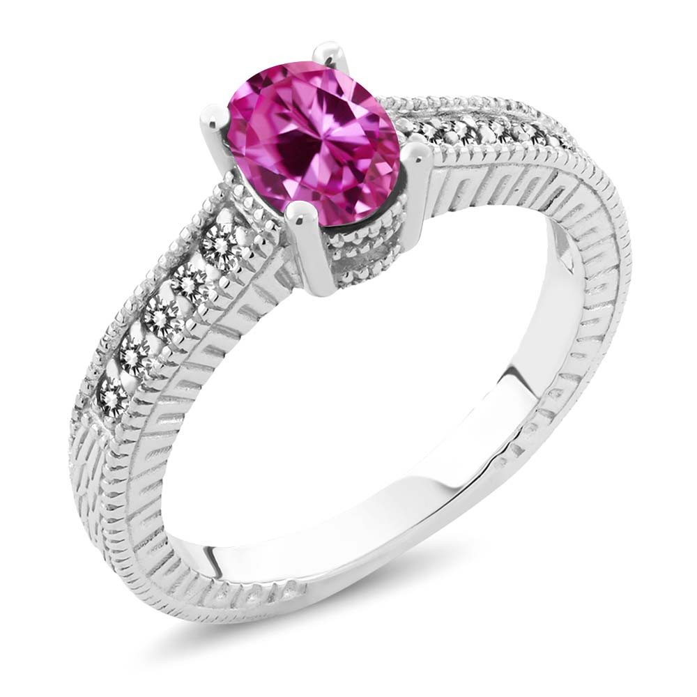 1.33 Ct Oval Pink Created Sapphire White Diamond 925 Sterling Silver Ring by