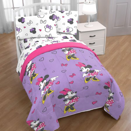 Disney Minnie Mouse Purple Love 4 Piece Twin Bed in a Bag