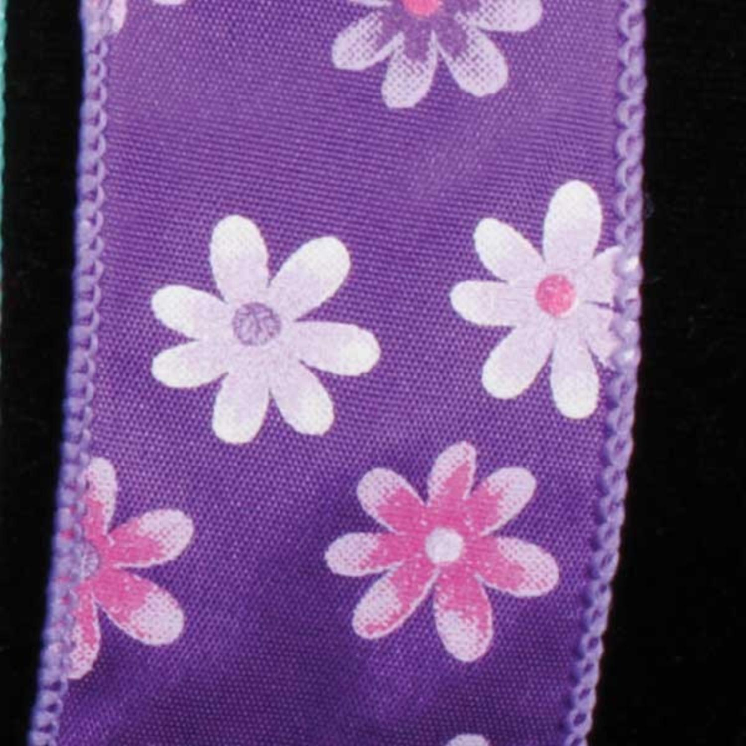 """Spring Flowers Purple Floral Wired Craft Ribbon 1.5"""" x 40 Yards"""