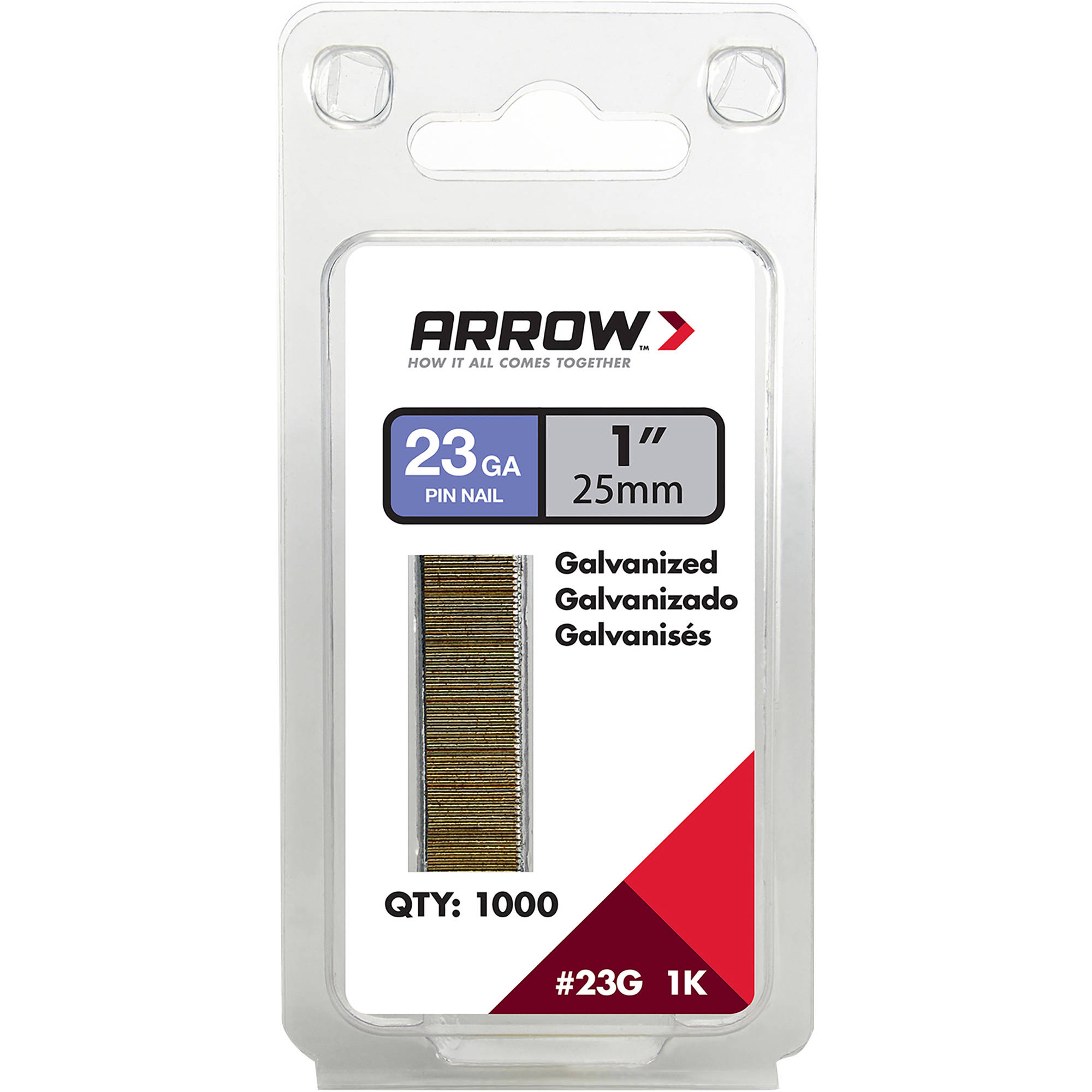 "Arrow Fastener 1"" Pin Nail, 1000 Pack"