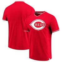 Cincinnati Reds Fanatics Branded True Classics V-Neck T-Shirt - Red/White