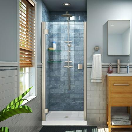 DreamLine Lumen 30-31 in. W x 66 in. H Semi-Frameless Hinged Shower Door in Brushed Nickel for $<!---->