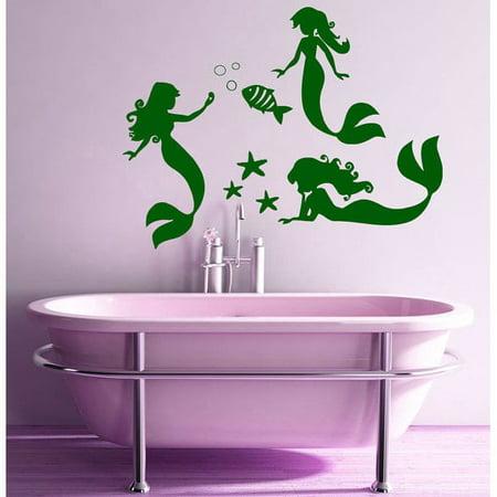 Stickalz Llc Mermaid Wall Decals Fish Home Interior Design Nautical Art Murals Spa Salon Nursery Decor