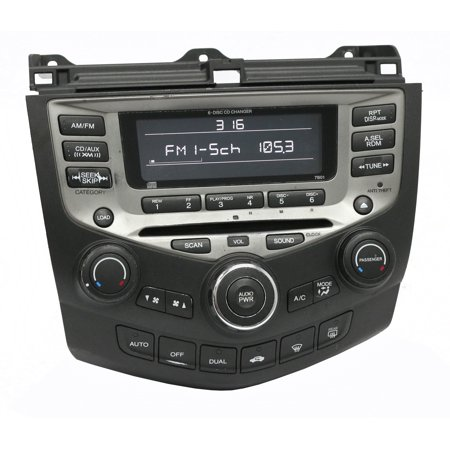 2005-07 Honda Accord AM FM Radio 6 Disc CD w Temp Controls 39175SDRA210M2 - 7B01 - Refurbished