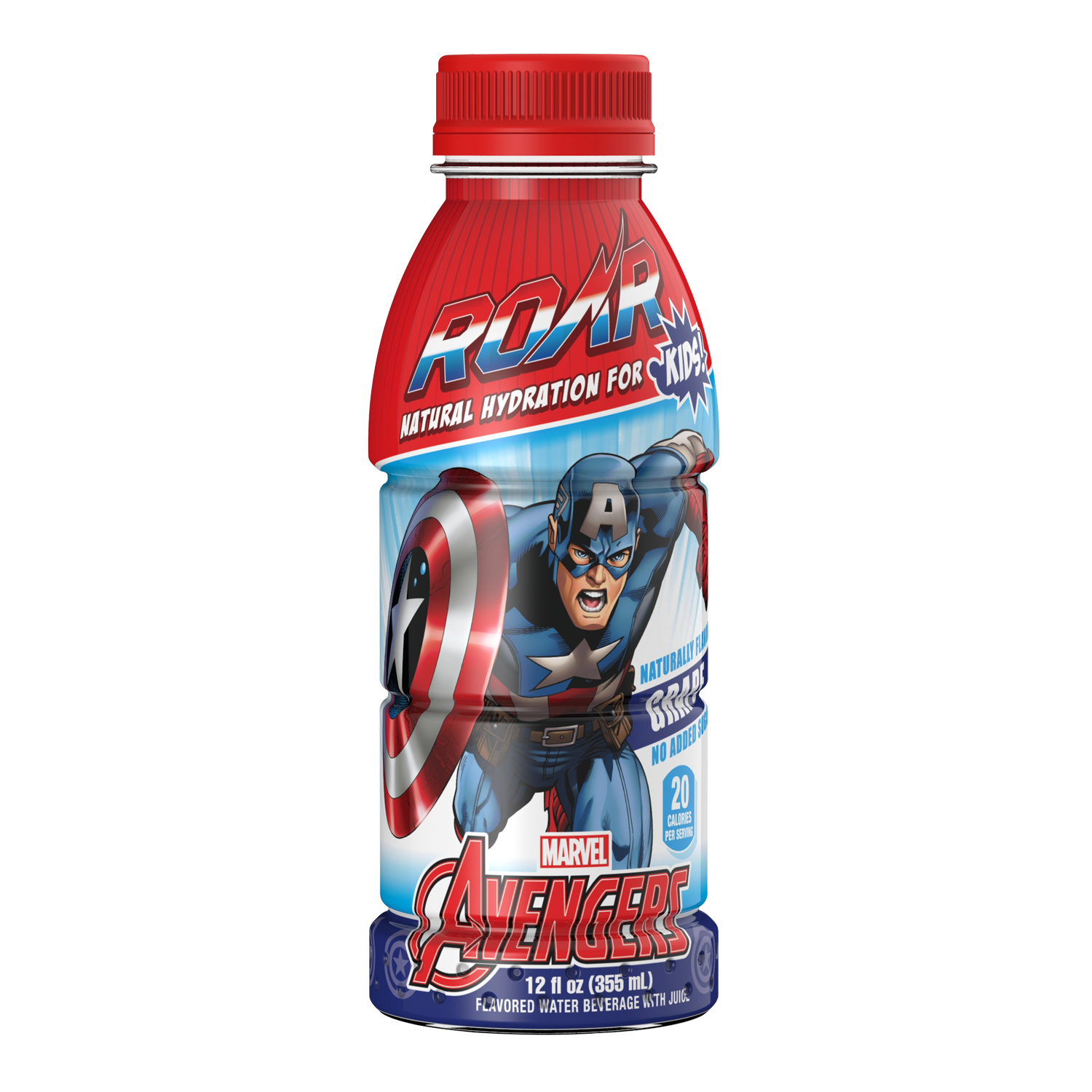 ROAR Captain America Kids Juice, Grape, 12 Fl Oz, 12 Ct