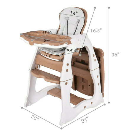 3 In 1 Baby High Chair Convertible Play Table Seat Booster