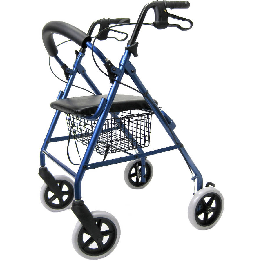 """Karman R-4608 Lightweight Rollator with 8"""" Wheels, Loop Brakes, Padded Backrest and Seat, Blue"""