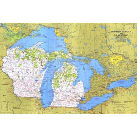 Wisconsin Fishing Maps - 1973 Close-up USA, Wisconsin, Michigan, and the Great Lakes Map Geography Education Print Wall Art By National Geographic Maps