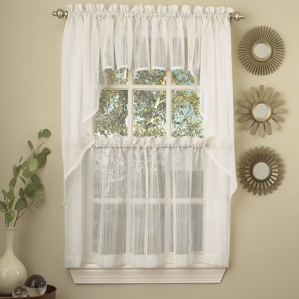 "Harmony Micro Stripe Semi Sheer Kitchen Curtains 24"", 36"" Tier Pair, 36"" Swag Pair or 12"" Valance"