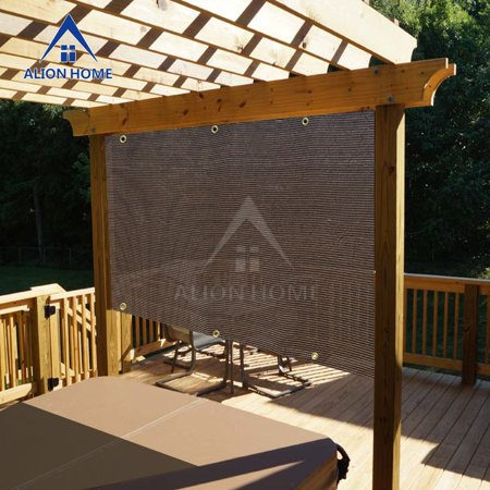 Sun Shade Awning - Alion Home Mocha Brown Sun Shade Privacy Panel with Grommets on 4 Sides for Patio, Awning, Window, Pergola or Gazebo  16' x  6'