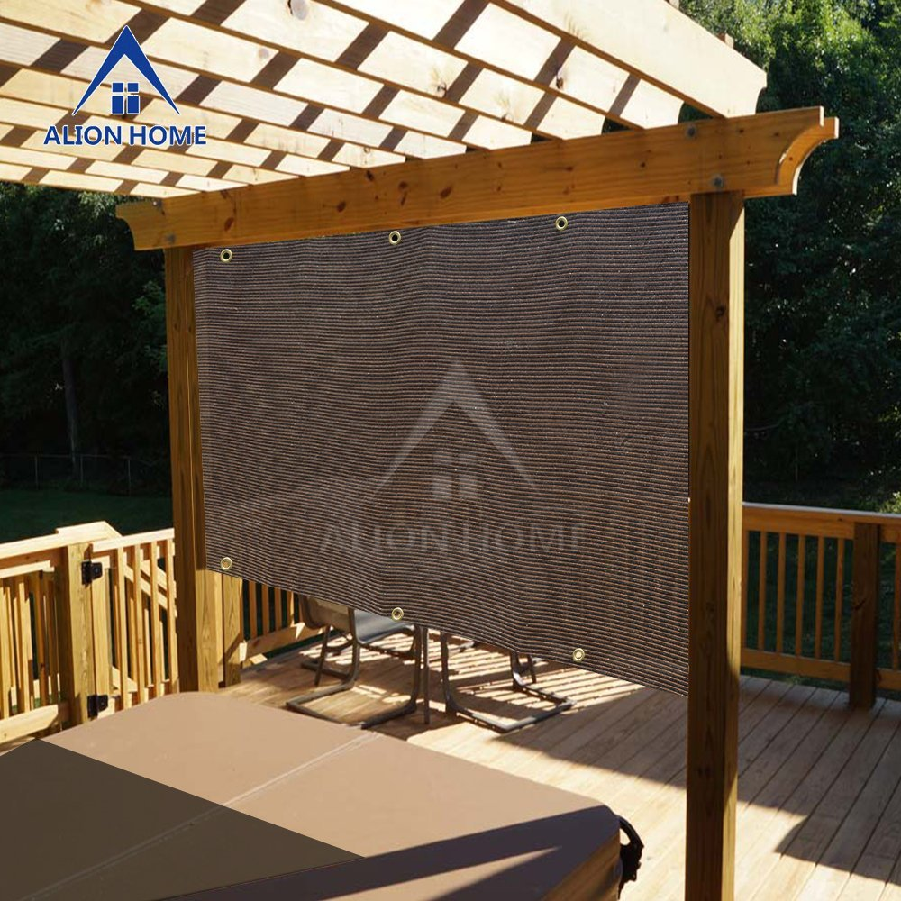 Alion Home Mocha Brown Sun Shade Privacy Panel with Grommets on 2 Sides for Patio, Awning, Window, Pergola or Gazebo  12' x 10'