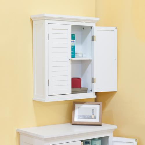Bayfield White Finish  Cabinet With Shutter Doors by Elegant Home Fashions