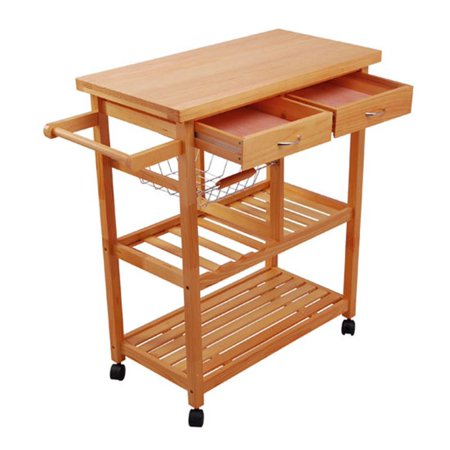 HomCom Portable Wooden Rolling Storage Cart Kitchen Trolley w/ Drawers