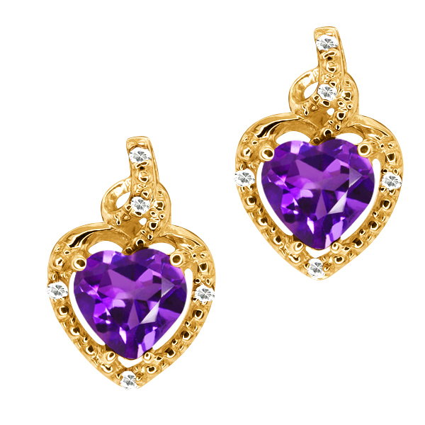 1.54 Ct Heart Shape Purple Amethyst White Topaz 14K Yellow Gold Earrings