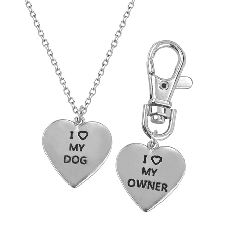 Lux Accessories I <3 Love My Dog Owner Best Friends BFF Pendant Necklace Matching Tag Collar Keychain
