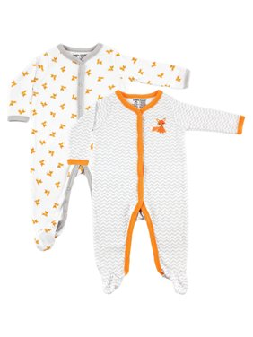 Luvable Friends Baby Boy or Girl Unisex Sleep N Play Pajamas, 2-Pack