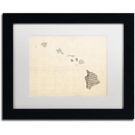 Trademark Fine Art 'Old Sheet Music Map of Hawaii' Canvas Art by Michael Tompsett, White Matte, Black (Waikoloa Hawaii Map)