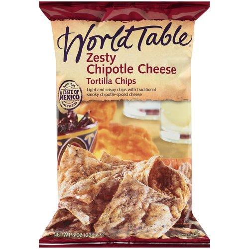 World Table Zesty Chipotle Cheese Tortilla Chips, 8 oz