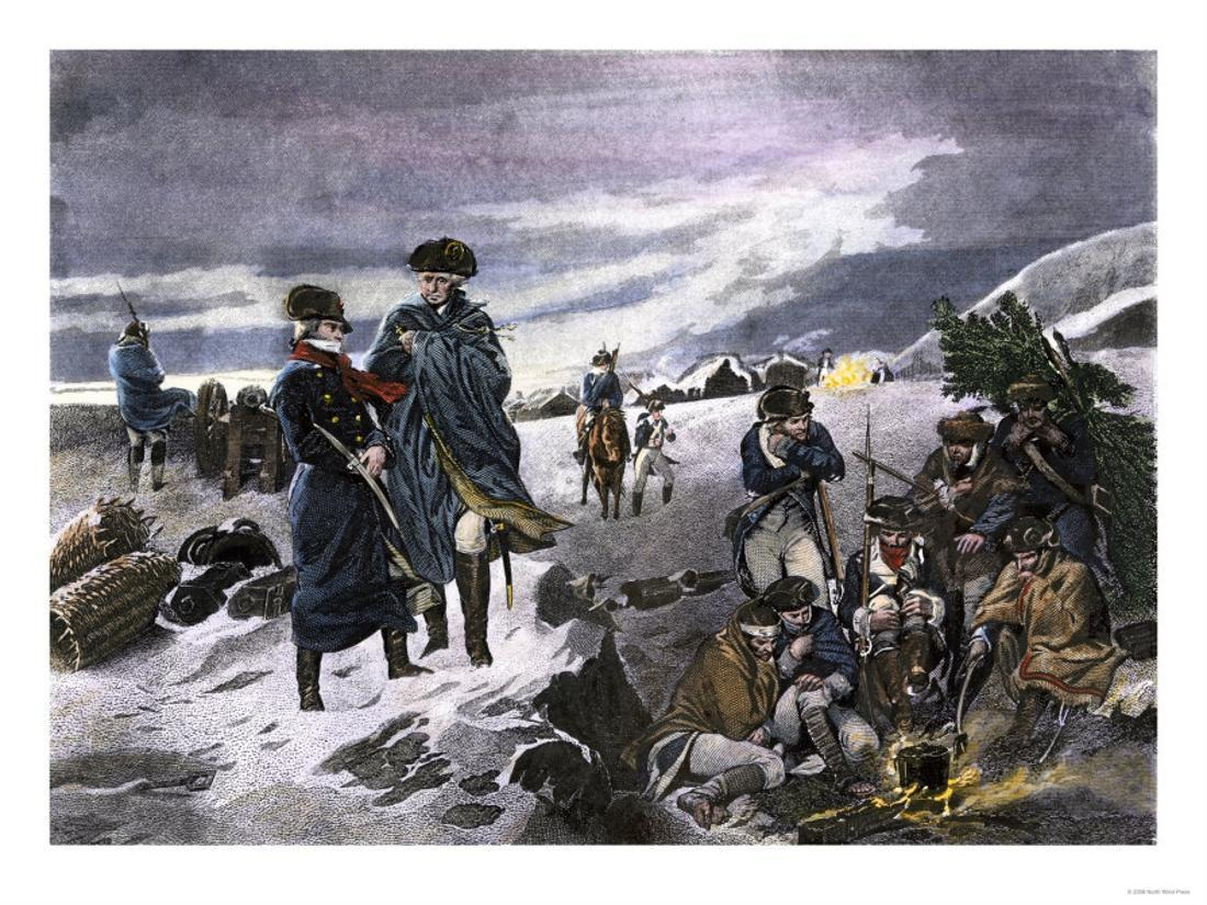 GEORGE WASHINGTON /& LAFAYETTE AT VALLEY FORGE WINTER OIL PAINTING CANVAS PRINT