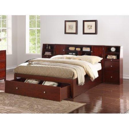 Capacious Queen Wooden Bed With Drawers Display And Storage Brown
