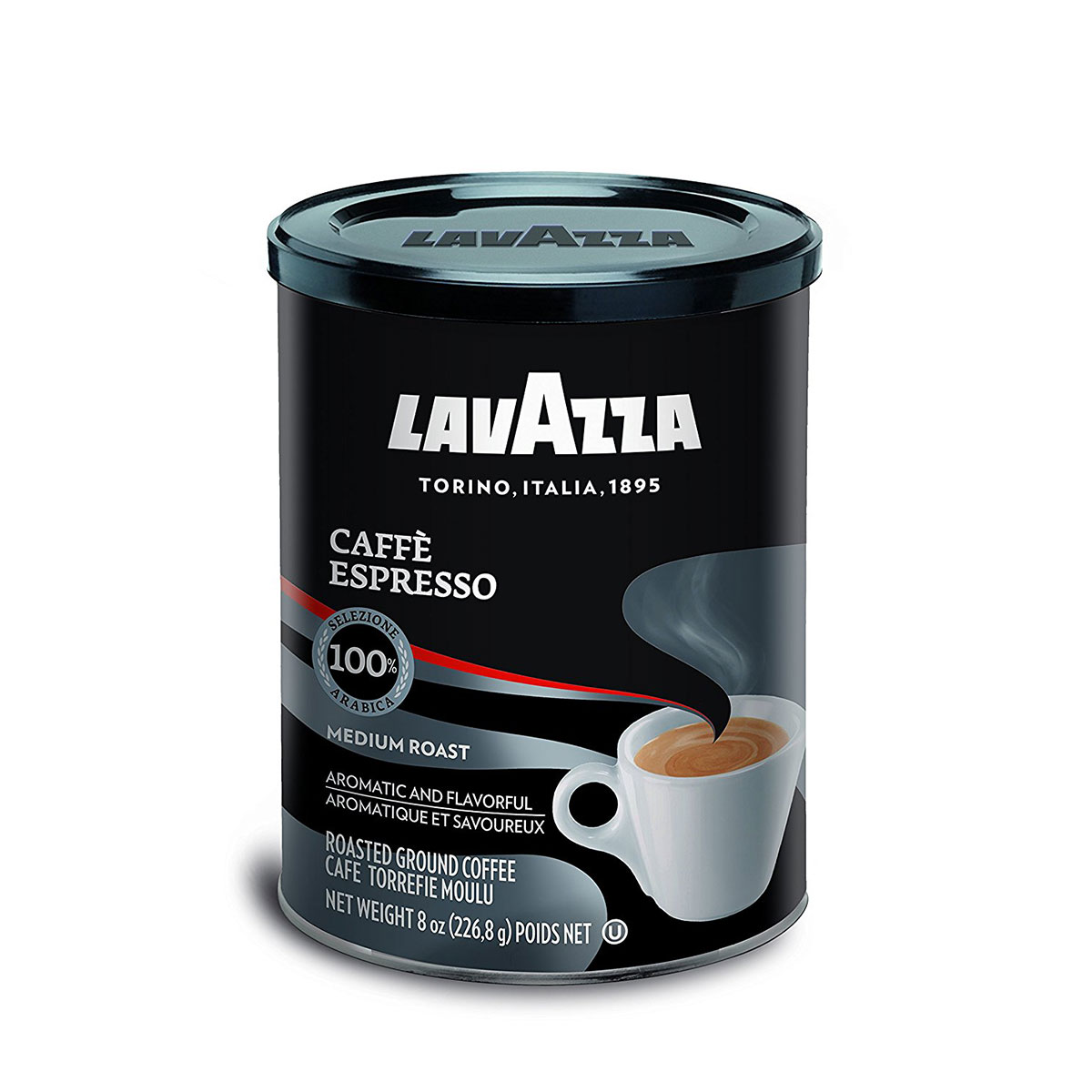 Lavazza Caffe Espresso Ground Coffee Blend, Medium Roast, 8-Ounce Can