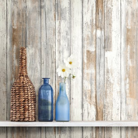 Roommates distressed wood peel and stick wall d cor for Paintable peel n stick wallpaper