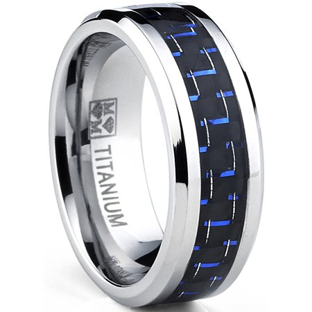 Men's Titanium Ring Wedding Engagement Band with Black and Blue Carbon Fiber Inlay, -
