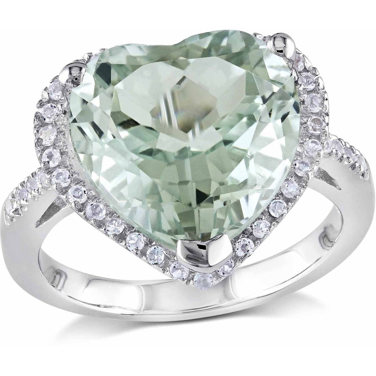 Tangelo 4-4/5 Carat T.G.W. Green Amethyst and White Topaz Sterling Silver Halo Heart Ring
