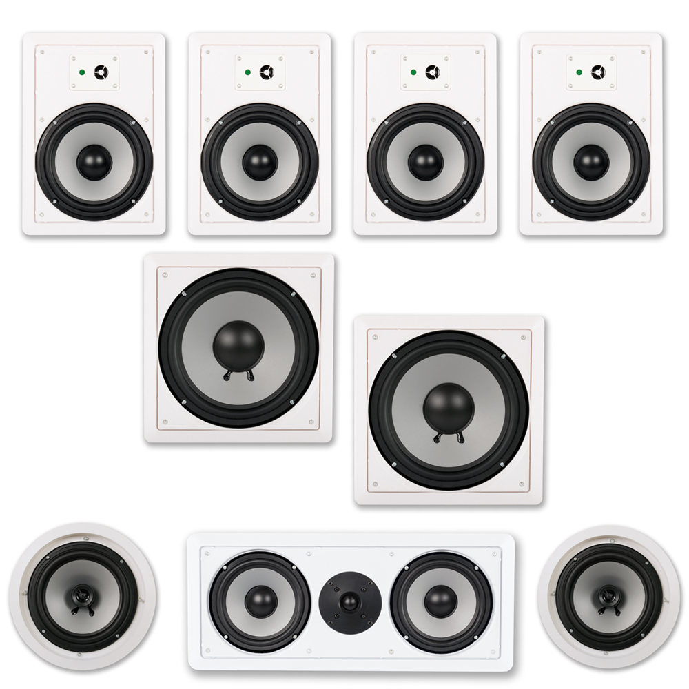 Acoustic Audio CST827 Complete 7.2 Home Theater Speaker Set with Center Channel and Subwoofer 2650 Watts by Acoustic Audio