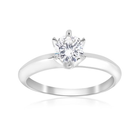 3/4 ct Solitaire Diamond 14K White Gold Engagement Ring Round Brilliant Cut