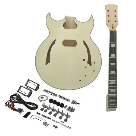 Muslady Unfinished DIY Electric Guitar Kit Semi Hollow Basswood Body Rosewood Fingerboard Maple