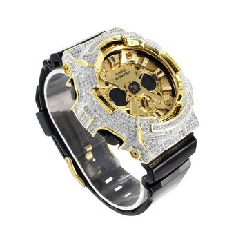 Mens Iced Out Bezel Silicon Band G Shock Ga200gd Analog Digital Display Watch