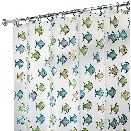 "InterDesign Fishy Shower Curtain, 72"" x 72"", Blue/Green"