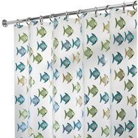 """InterDesign Fishy Frosted PEVA Shower Curtain, 72"""" x 72"""""""
