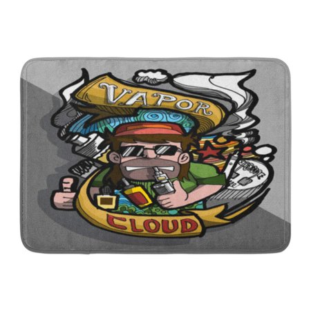 GODPOK Vape Badge Hand Drawing and Colors It's Show About E Cig in Man and Cloud of Vapor Around Him Other Way Rug Doormat Bath Mat 23.6x15.7