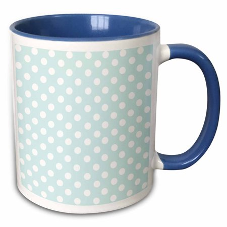 3dRose White Polka Dot pattern on mint blue - Retro fifties cute dots - spots - pastel turquoise teal aqua - Two Tone Blue Mug, 11-ounce