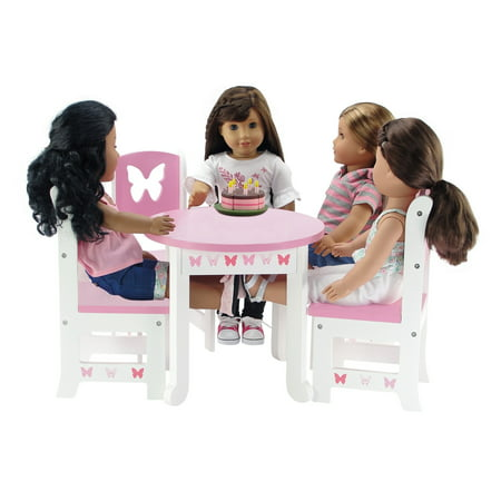 18 Inch Doll Furniture Lovely Pink And White Table And 4 Chair Value Pack Dining Set With Beautiful Butterfly Motif Fits American Girl Dolls