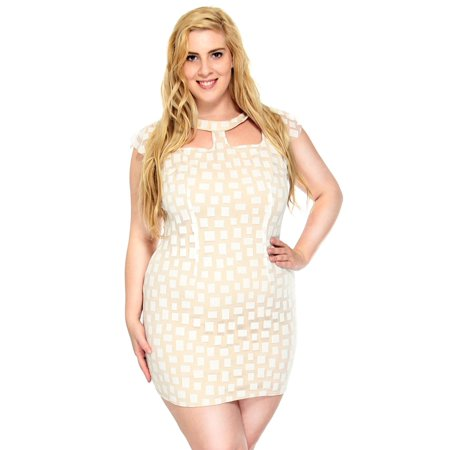 Women\'s Square Pattern Plus Size Dress, Short Sleeve, Ivory, 2XL