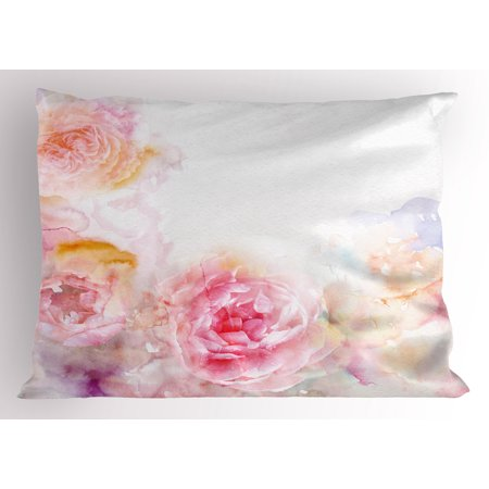 Victorian Shabby Chic (Shabby Chic Pillow Sham Nature Garden Romantic Victorian Flowers Roses Leaves Image, Decorative Standard Queen Size Printed Pillowcase, 30 X 20 Inches, Pale Pink Hot Pink and White, by)