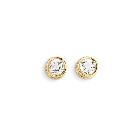 14k Yellow Gold 5mm Bezel White Topaz Stud Earrings Birthstone April Gemstone Gifts For Women For - 14kt Yellow Gold Diamond Bezel