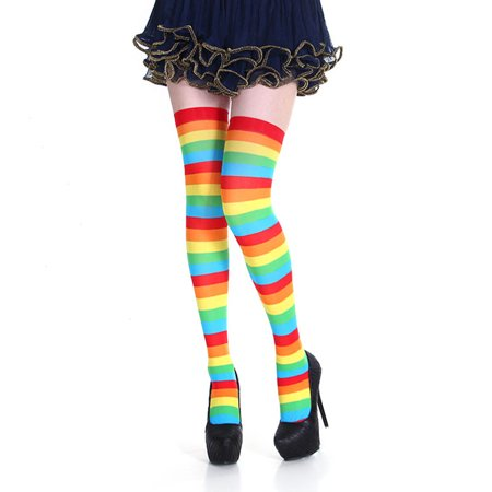 Cheap Halloween Parties Nyc 2019 (Fancyleo 1 Pair 2019 New Halloween Christmas Party Striped Over Knee Stockings Colorful)