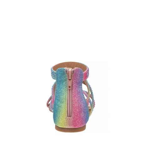 Petalia Rainbow Shimmer Gladiator Sandal (Toddler Girls)