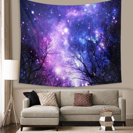 Cotton Vintage Tapestry (Meigar Wall Tapestry Wall Hanging Galaxy Forest Tapestry the Star Tapestry Psychedelic Tapestry Vintage Tapestry Bedroom Living Room Dorm Home Decor)