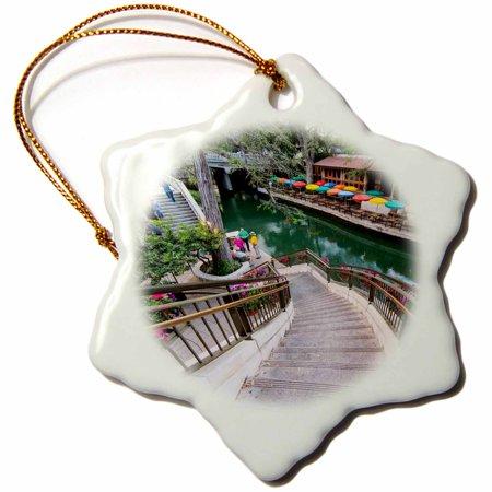 3dRose Flowers along the Riverwalk in downtown San Antonio, Texas, USA, Snowflake Ornament, Porcelain, 3-inch