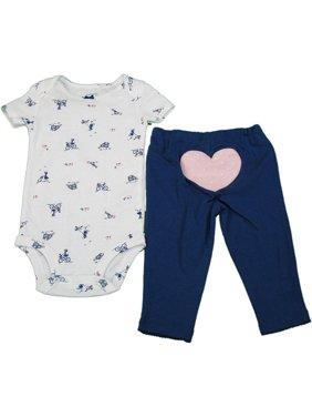 Carters Baby Girls Size 3 Months 2-Piece Bodysuit & Legging Set, Blue/White/Pink Heart