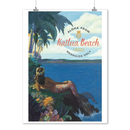 Kailua, Hawaii - Tropical Mermaid - Watercolor - Lantern Press Artwork (9x12 Art Print, Wall Decor Travel -