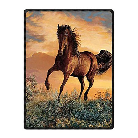 Saxon Horse Blankets - CADecor Horse Blanket Fleece Throw Blanket for Sofa or Bed 58x80 inches